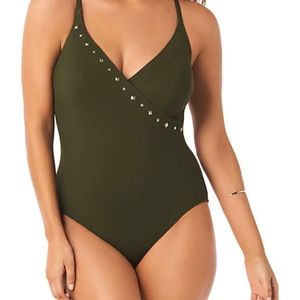 NWOT Amoressa green studded one piece swimsuit